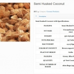 Semi Husked Coconuts Specifications